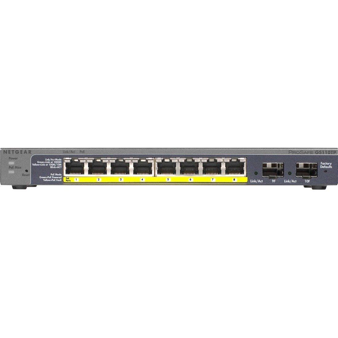 Netgear Prosafe GS110TP 8-Port Gigabit PoE Smart Switch with 2 Gigabit Fiber SFP